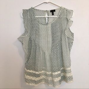 Jessica Simpson Mint Brown Dot Ruffle Sleeve Top